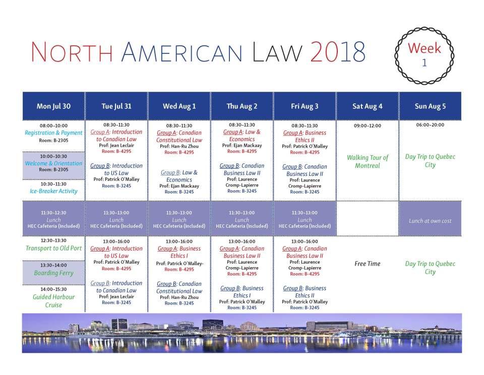 Program North American Law 2018 Week 1 Rev2